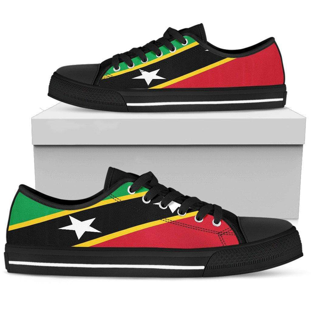 SportsChest Mens Low Top - Black - Saint Kitts and Nevis Low Top Shoe / US5 (EU38) Saint Kitts and Nevis Low Top Shoe