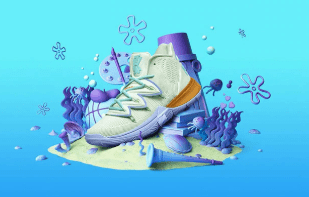 SportsChest New Kyrie 5 Basketball Spongebob Shoes