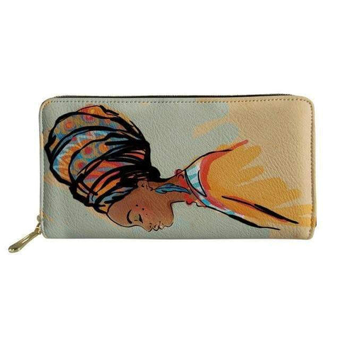 SportsChest P4812Z21 Afro Printing Women's Large Handbag And Wallet Set