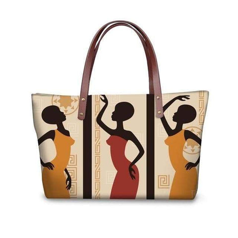 SportsChest P4813AL Afro Printing Women's Large Handbag And Wallet Set