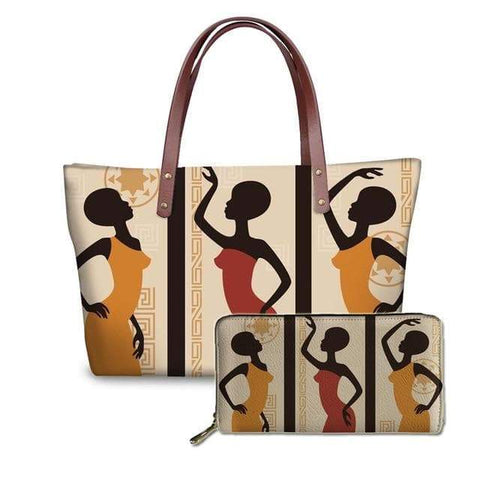 SportsChest P4813ALZ21 Afro Printing Women's Large Handbag And Wallet Set