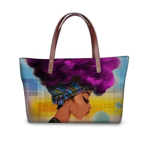 SportsChest P4814AL Afro Printing Women's Large Handbag And Wallet Set