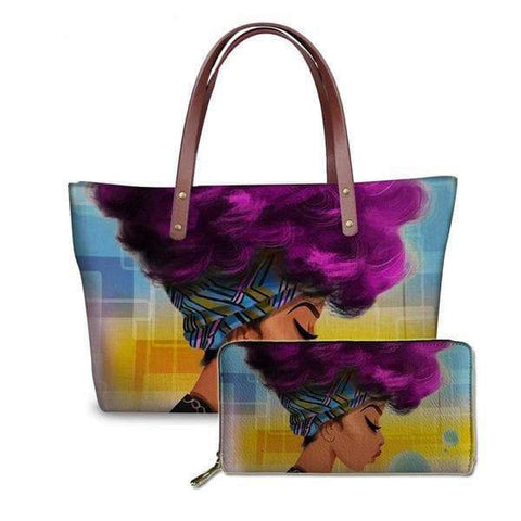 SportsChest P4814ALZ21 Afro Printing Women's Large Handbag And Wallet Set