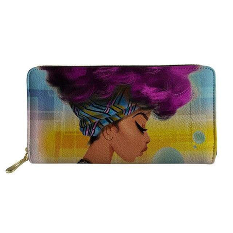 SportsChest P4814Z21 Afro Printing Women's Large Handbag And Wallet Set
