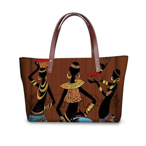 SportsChest P4816AL Afro Printing Women's Large Handbag And Wallet Set