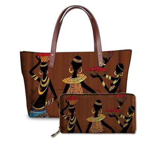 SportsChest P4816ALZ21 Afro Printing Women's Large Handbag And Wallet Set
