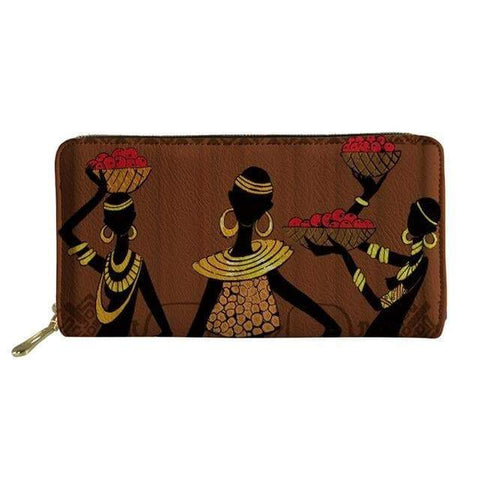 SportsChest P4816Z21 Afro Printing Women's Large Handbag And Wallet Set