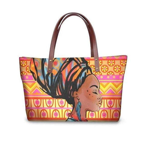 SportsChest P4818AL Afro Printing Women's Large Handbag And Wallet Set