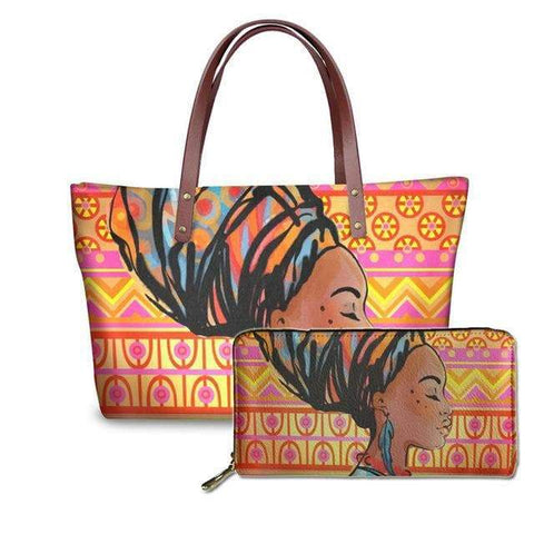SportsChest P4818ALZ21 Afro Printing Women's Large Handbag And Wallet Set