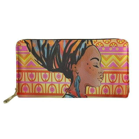 SportsChest P4818Z21 Afro Printing Women's Large Handbag And Wallet Set