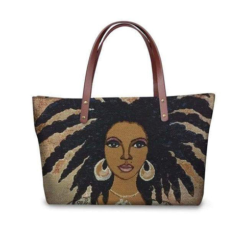 SportsChest P4819AL Afro Printing Women's Large Handbag And Wallet Set