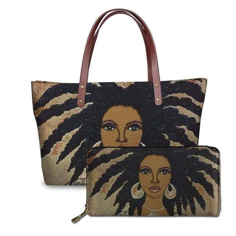 SportsChest P4819ALZ21 Afro Printing Women's Large Handbag And Wallet Set