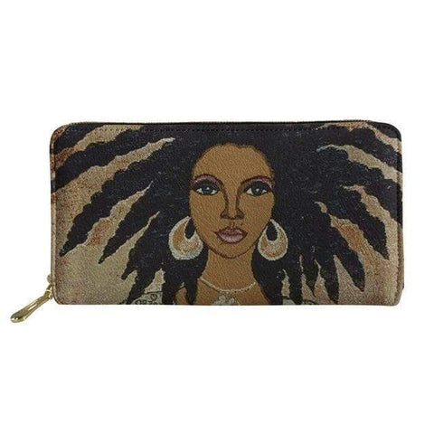 SportsChest P4819Z21 Afro Printing Women's Large Handbag And Wallet Set