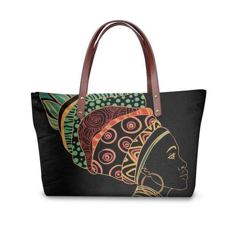 SportsChest P4821AL Afro Printing Women's Large Handbag And Wallet Set