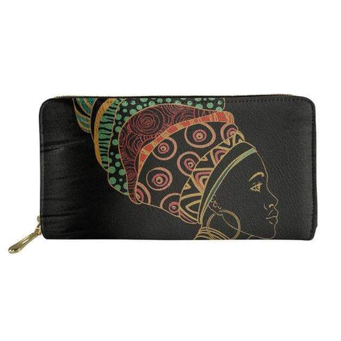SportsChest P4821Z21 Afro Printing Women's Large Handbag And Wallet Set