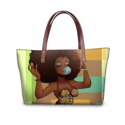 SportsChest P4822AL Afro Printing Women's Large Handbag And Wallet Set