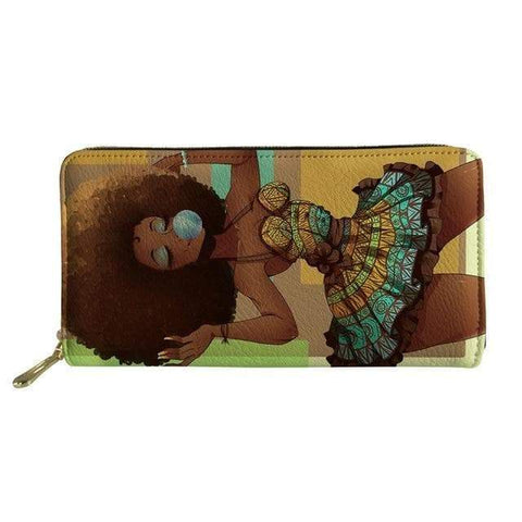 SportsChest P4822Z21 Afro Printing Women's Large Handbag And Wallet Set