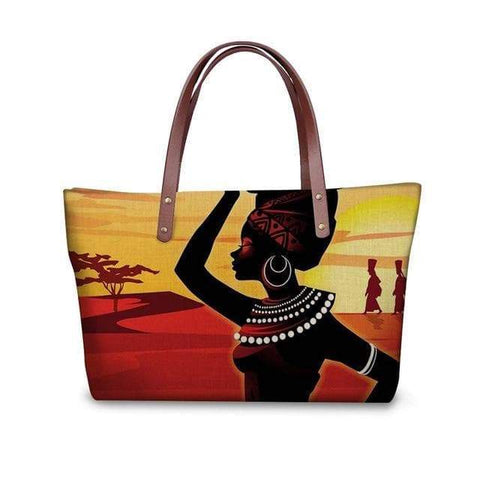 SportsChest P4823AL Afro Printing Women's Large Handbag And Wallet Set