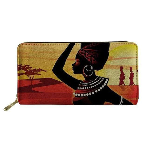 SportsChest P4823Z21 Afro Printing Women's Large Handbag And Wallet Set