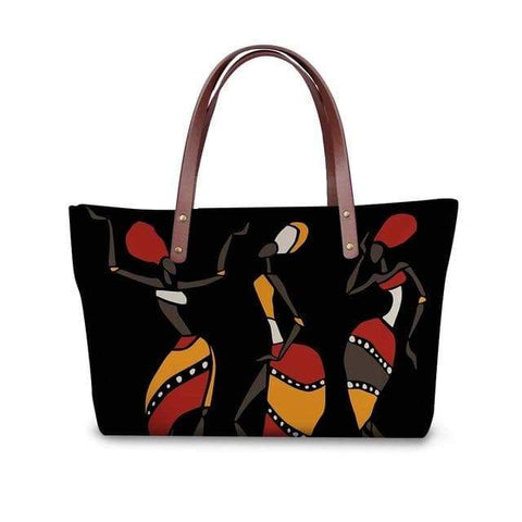 SportsChest P4824AL Afro Printing Women's Large Handbag And Wallet Set