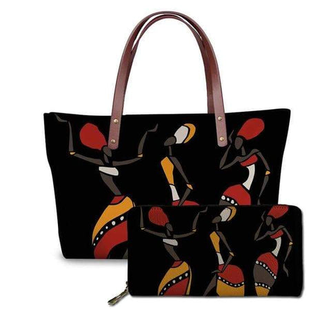 SportsChest P4824ALZ21 Afro Printing Women's Large Handbag And Wallet Set