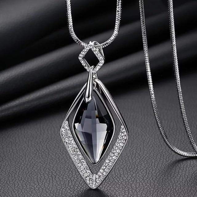 SportsChest Meyfflin Long Geometric Crystal Pendant Necklaces.