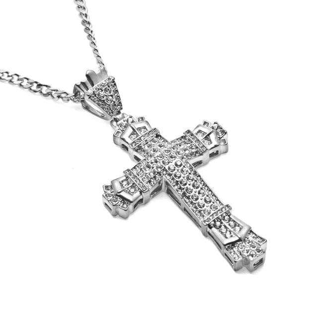 SportsChest Silver Plated Cross Bling Pendant Necklace