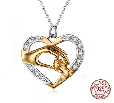 Image of SportsChest Sterling Silver Necklace & Hand in Hand Heart Pendant