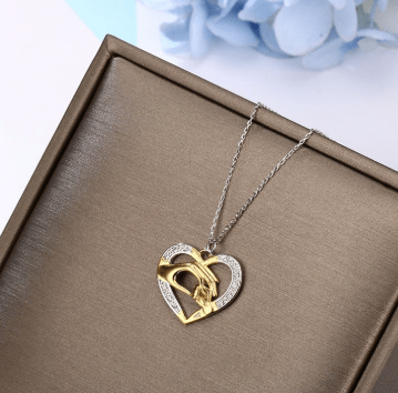 SportsChest Sterling Silver Necklace & Hand in Hand Heart Pendant