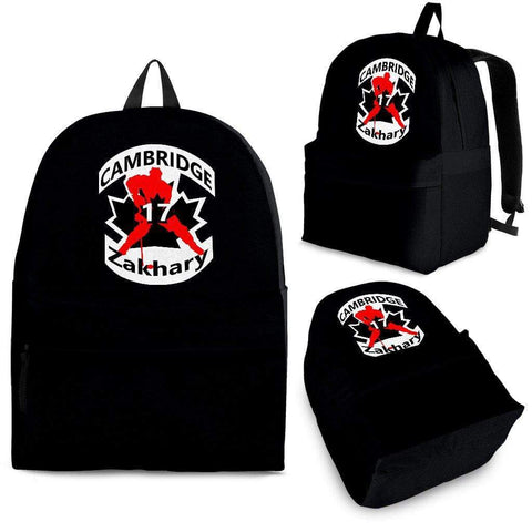 SportsChest STORE Backpack - Black - #17 Zakhary Cambridge Hockey Black Backpack / Adult (Ages 13+) #17 Zakhary Cambridge Hockey Red Backpack