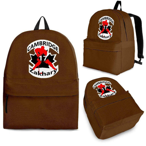 SportsChest STORE Backpack - Black - #17 Zakhary Cambridge Hockey Brown Backpack / Adult (Ages 13+) #17 Zakhary Cambridge Hockey Red Backpack