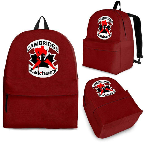 SportsChest STORE Backpack - Black - #17 Zakhary Cambridge Hockey Red Backpack / Adult (Ages 13+) #17 Zakhary Cambridge Hockey Red Backpack