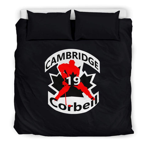 Image of SportsChest STORE Bedding Set - Black - #19 Corbeil Cambridge Hockey Black Bedding Set / US King #19 Corbeil Cambridge Hockey Black Bedding Set