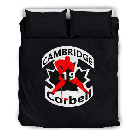 SportsChest STORE Bedding Set - Black - #19 Corbeil Cambridge Hockey Black Bedding Set / US Queen/Full #19 Corbeil Cambridge Hockey Black Bedding Set