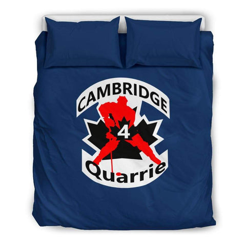 Image of SportsChest STORE Bedding Set - Black - #4 Quarrie Cambridge Hockey Blue Bedding Set / US Queen/Full #4 Quarrie Cambridge Hockey Blue Bedding Set