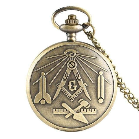 SportsChest STORE bronze 1 Bronze Masonic Freemasonry Chrome Square and Compass Mason Retro Necklace Pendant Quartz Pocket Watch Best Gifts for Freemason