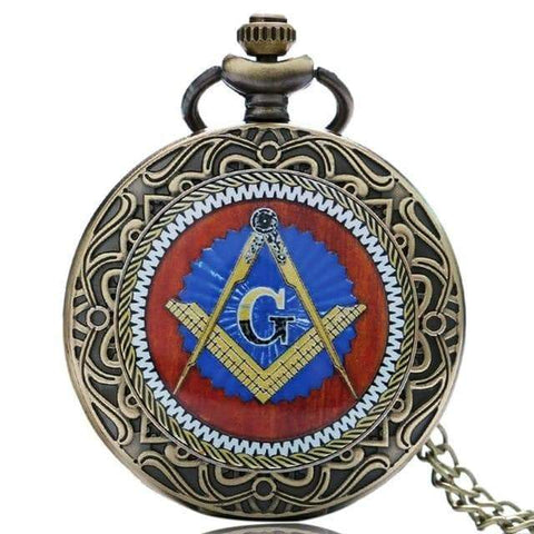 SportsChest STORE bronze 3 Bronze Masonic Freemasonry Chrome Square and Compass Mason Retro Necklace Pendant Quartz Pocket Watch Best Gifts for Freemason