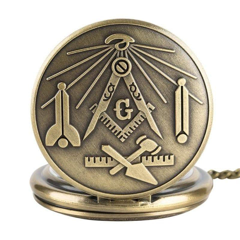 Image of SportsChest STORE Bronze Masonic Freemasonry Chrome Square and Compass Mason Retro Necklace Pendant Quartz Pocket Watch Best Gifts for Freemason