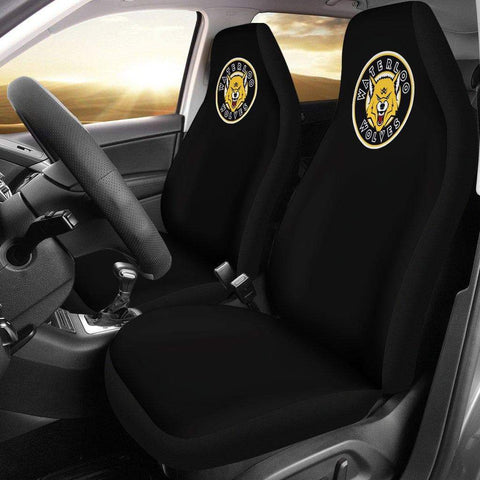 Image of SportsChest STORE Car Seat Covers - Waterloo Wolves Black Custom Car Seat Covers / Universal Fit Waterloo Wolves Black Custom Car Seat Covers