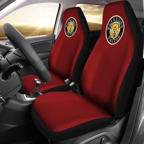 Image of SportsChest STORE Car Seat Covers - Waterloo Wolves Black Custom Car Seat Covers / Universal Fit Waterloo Wolves Red Custom Car Seat Covers