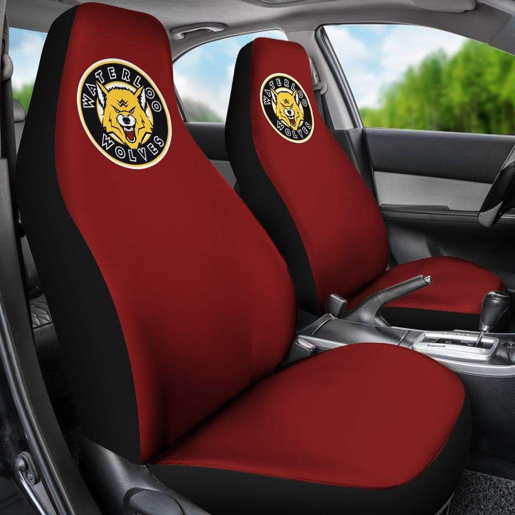 SportsChest STORE Car Seat Covers - Waterloo Wolves Black Custom Car Seat Covers / Universal Fit Waterloo Wolves Red Custom Car Seat Covers