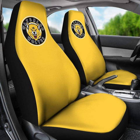 Image of SportsChest STORE Car Seat Covers - Waterloo Wolves Yellow Custom Car Seat Covers / Universal Fit Waterloo Wolves Yellow Custom Car Seat Covers