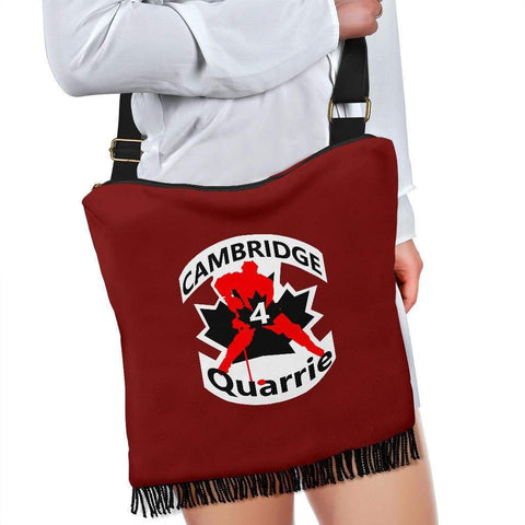 Image of SportsChest STORE Crossbody Boho Handbag - #4 Quarrie Cambridge Hockey Red Boho Handbag / One Size #4 Quarrie Cambridge Hockey Red Boho Handbag