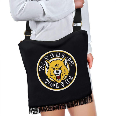 Image of SportsChest STORE Crossbody Boho Handbag - Waterloo Wolves Black Cross Body Boho HandBags / One Size Waterloo Wolves Black Cross Body Boho HandBags