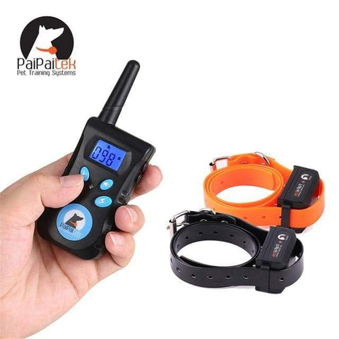Image of SportsChest STORE For 2 dogs Two in One Automatic Anti bark 1500 ft remote pet Dog training electric shock collar bark