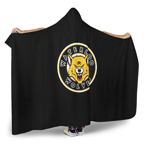 "Image of SportsChest STORE Hooded Blanket - Waterloo Wolves Black Cozy Hooded Blankets / Youth 60""x45"" Waterloo Wolves Black Cozy Hooded Blankets"
