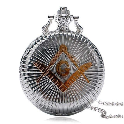 Image of SportsChest STORE silver Bronze Masonic Freemasonry Chrome Square and Compass Mason Retro Necklace Pendant Quartz Pocket Watch Best Gifts for Freemason