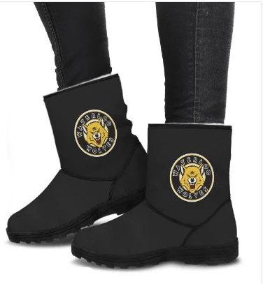 SportsChest STORE Waterloo Wolves Black Cozy Faux Fur Boots