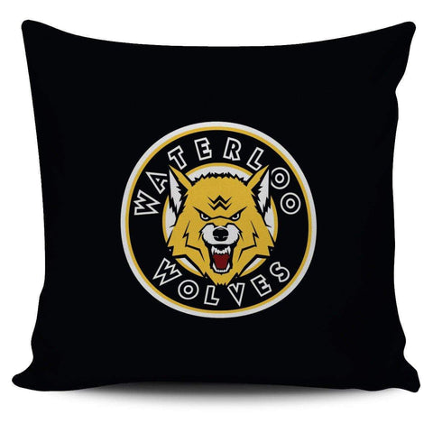 "Image of SportsChest STORE Waterloo Wolves Black Pillow Waterloo Wolves Square Pillow Covers 42 cm (17.7"") x 42 cm (17.7"")"