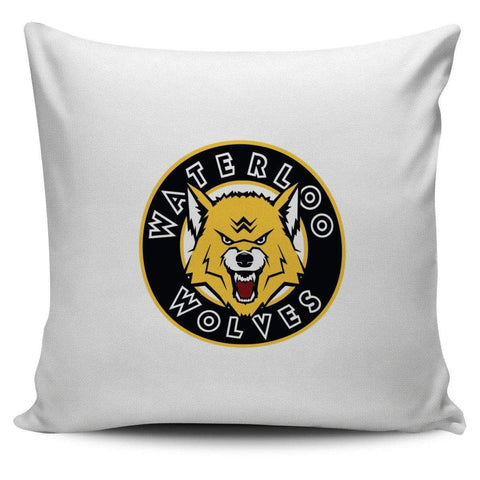 "Image of SportsChest STORE Waterloo Wolves White Pillow Waterloo Wolves Square Pillow Covers 42 cm (17.7"") x 42 cm (17.7"")"